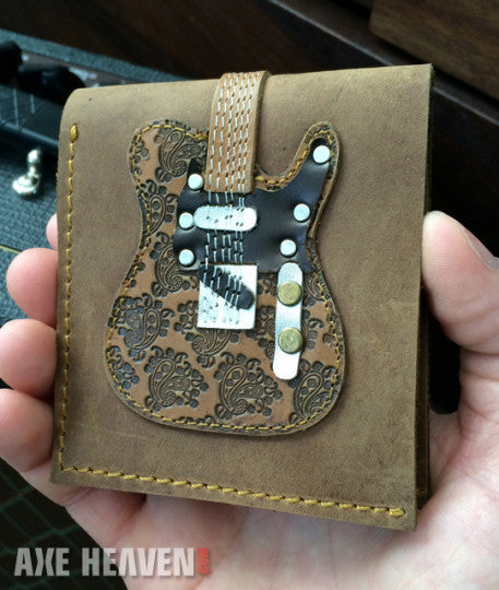 Brown Embossed Paisley Electric Guitar Wallet - Handmade from Genuine Leather