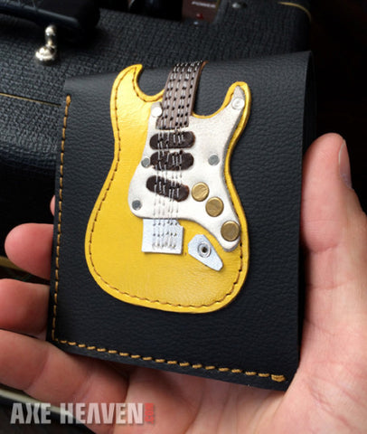 Yellow ST Electric Guitar Wallet - Handmade from Genuine Leather