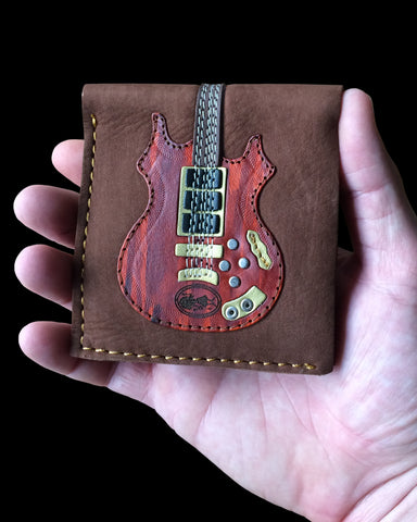 Dead Head Rosebud Guitar Wallet - Handmade from Genuine Leather