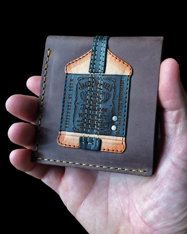 Signature Jack Daniel's Bass Guitar Wallet - Handmade from Genuine Leather