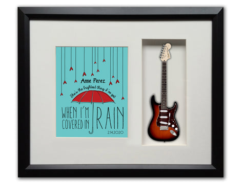 "22"" x 19"" Personalized Music Gift Framed Shadow Box with 10"" Mini Guitar"
