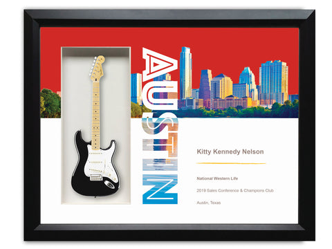 "Custom Matte Print Rockstar Award - 22″ x 19″ Framed Shadowbox with 10"" Mini Guitar"