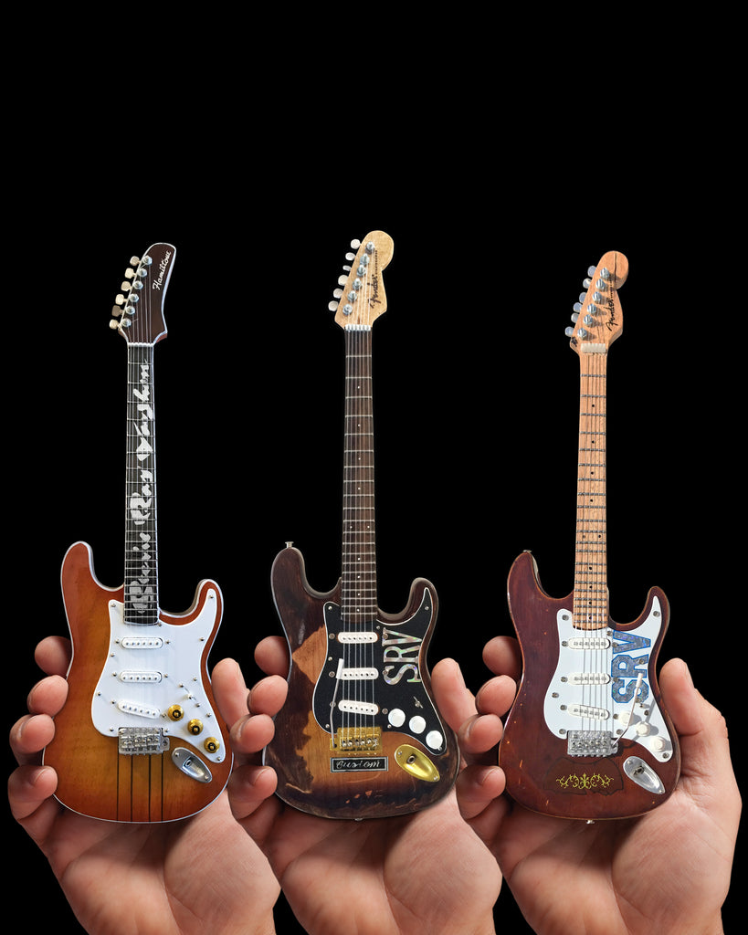 SRV Set of 3 Mini Guitar Replica Collectibles - Officially Licensed Fender
