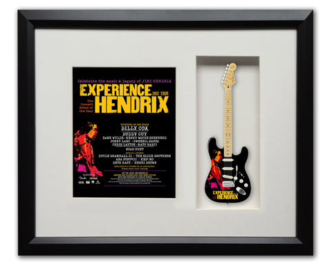 "22"" x 19"" Limited Edition 2017 Experience Hendrix Tour Framed Shadow Box with 10"" Strat™ Mini Guitar"
