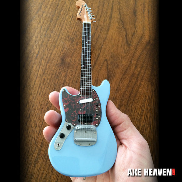 Officially Licensed Mini Sonic Blue Fender™ Mustang™ Guitar Replica Model