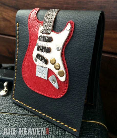 Red ST Electric Guitar Wallet – Handmade from Genuine Leather