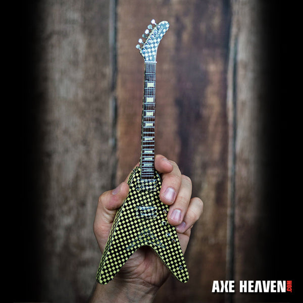 Officially Licensed RICK NIELSEN™ Checkered V Mini Guitar Replica Collectible