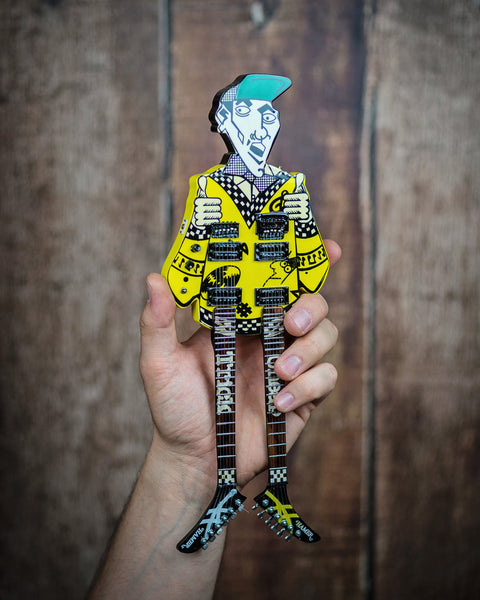 RICK NIELSEN™ Uncle Dick Doubleneck Mini Guitar Replica Collectible - Officially Licensed