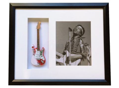 "22"" x 19"" Custom Artist Tribute Framed Shadow Box with Signature 10"" Mini Guitar"