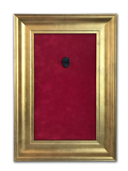 "12"" x 18"" - 1 x Mini Guitar Display Frame - Deep Red Suede - Warm Gold Leafing 2 1/4"" Wood Frame"