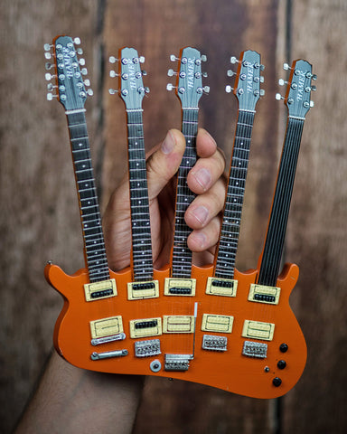 RICK NIELSEN™ Five-Neck Orange Monster Mini Guitar Replica Collectible - Officially Licensed
