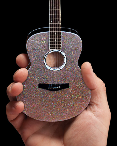 Glitter Rhinestone Acoustic Miniature Guitar Replica Collectible