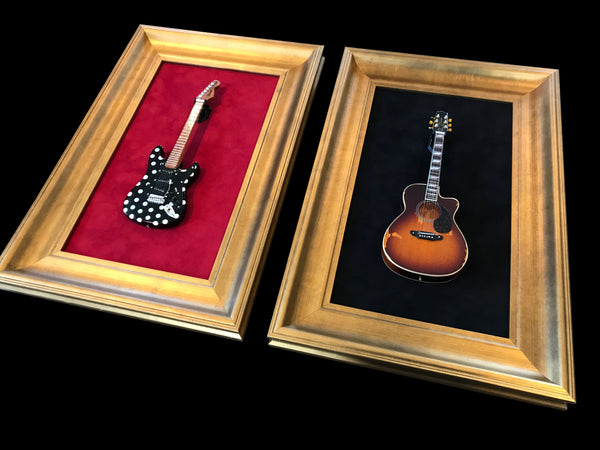 "12"" x 18"" - 1 x Mini Guitar Display Frame - Black Suede - Warm Gold Leafing 2 1/4"" Wood Frame"