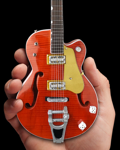 Brian Setzer Nashville Orange Dice Hollow Body Mini Guitar Replica Collectible
