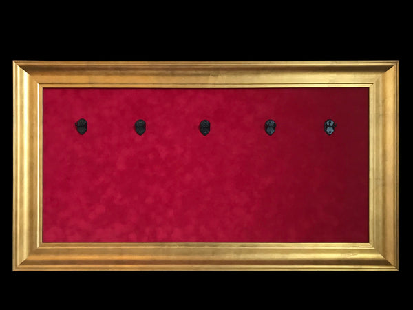 "33"" x 18"" - 5 x Mini Guitar Display Frame - Deep Red Suede - Warm Gold Leafing 2 1/4"" Wood Frame"