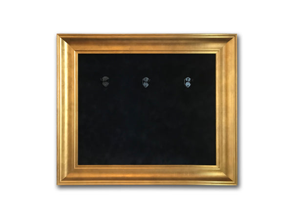 "22"" x 18"" - 3 x Mini Guitar Display Frame - Black Suede - Warm Gold Leafing 2 1/4"" Wood Frame"