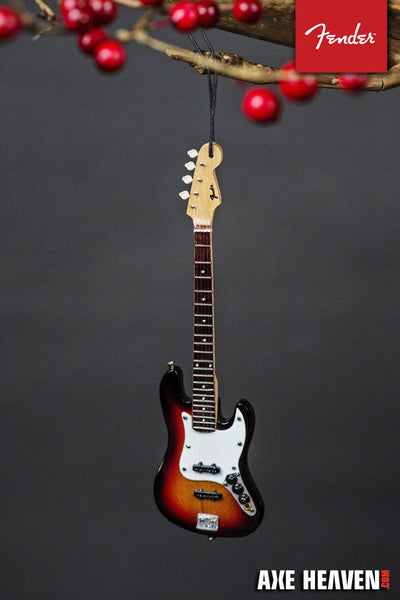 "6"" FENDER Sunburst Jazz Bass Guitar Holiday Ornament"