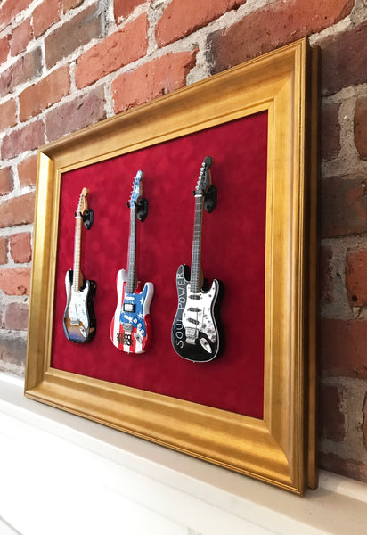 "22"" x 18"" - 3 x Mini Guitar Display Frame - Deep Red Suede - Warm Gold Leafing 2 1/4"" Wood Frame"