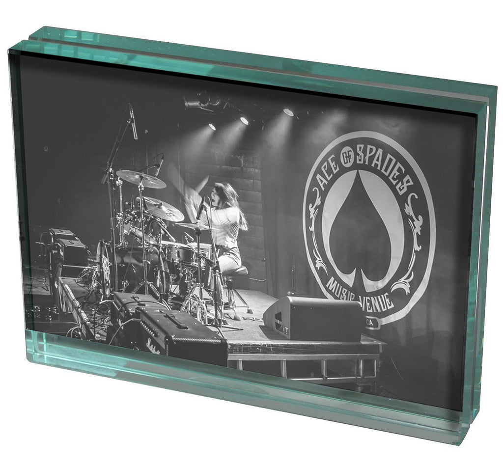 "7"" x 5"" Double Sided Glass Picture Frame - Rockstar Award"