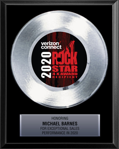"8"" x 10"" Plaque with 7"" Platinum Record - 45 Single Style Classic Platinum Record Rockstar Award"