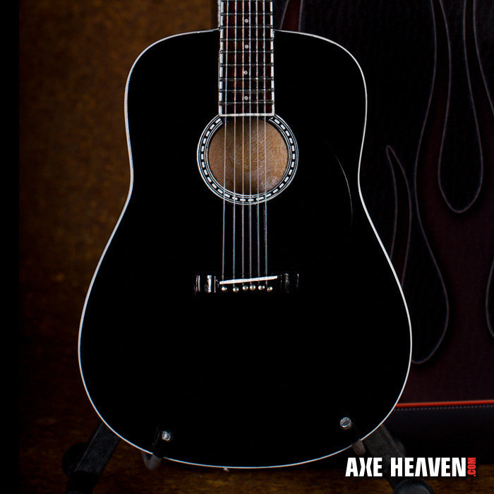 Classic Black Finish Miniature Acoustic Guitar Replica Collectible
