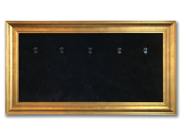 "33"" x 18"" - 5 x Mini Guitar Display Frame - Black Suede - Warm Gold Leafing 2 1/4"" Wood Frame"