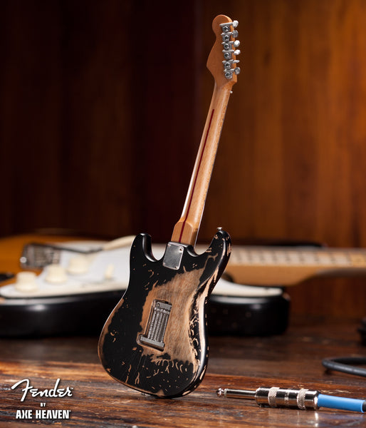 Vintage Distressed Black Fender™ Strat™ Miniature Guitar Replica - Officially Licensed