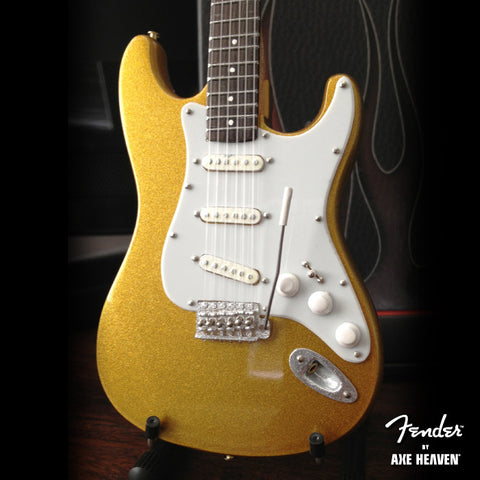 Metallic Gold Fender™ Strat™ - Officially Licensed Miniature Guitar Replica