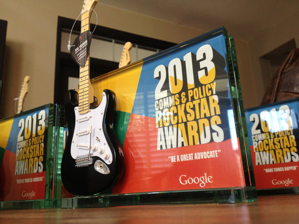 "7"" x 5"" Glass Frame Rockstar Award with 10"" Mini Guitar"