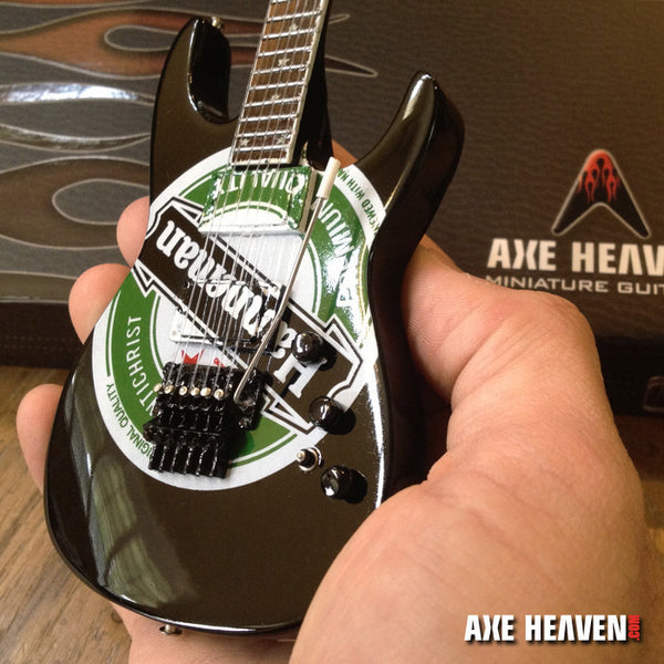Jeff Hanneman Green Heineken Logo Miniature Guitar Replica Collectible