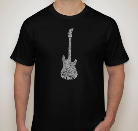 Guitar Heaven Calligram Rock T-Shirt by AXE HEAVEN®