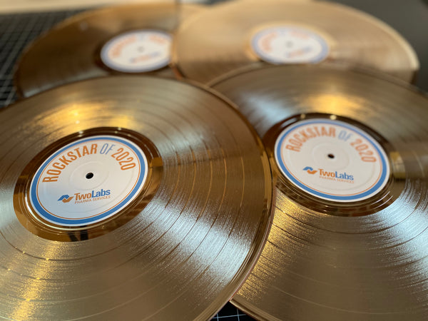 "CUSTOM LABELED 33 1/3 RPM LP 12"" Gold Record - Rockstar Award - Metalized Gold Record"