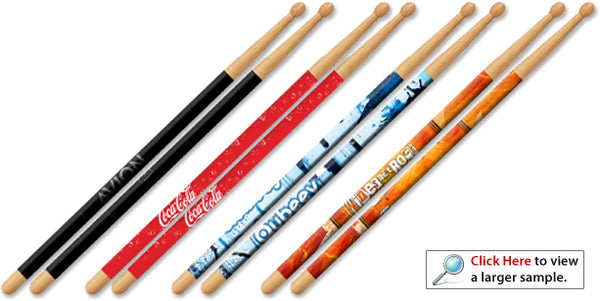 Custom Personalized Drum Sticks with Full Color Imprint Graphics or Images - Solid Hardwood