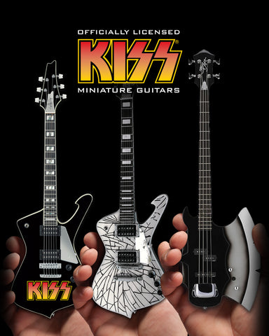 Officially Licensed KISS SET of 3 Miniature Guitar Models - AXE - ICEMAN - LOGO ICEMAN