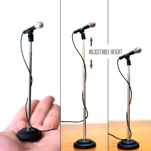 Set of 2 Adjustable Height Miniature Microphones  to complement Rock Star Miniature Guitars & Drums