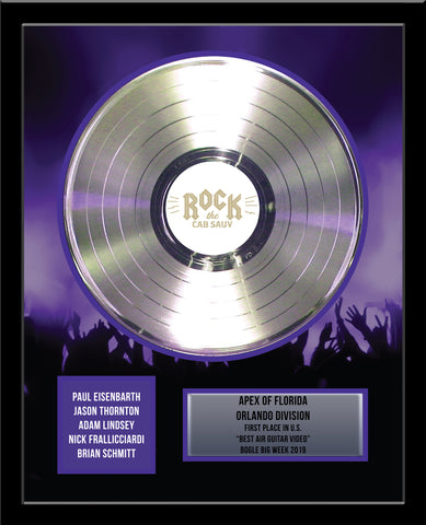 "18"" x 22"" Framed 12"" Platinum Record - Deluxe Framed Rockstar Award - Metalized Platinum Record"