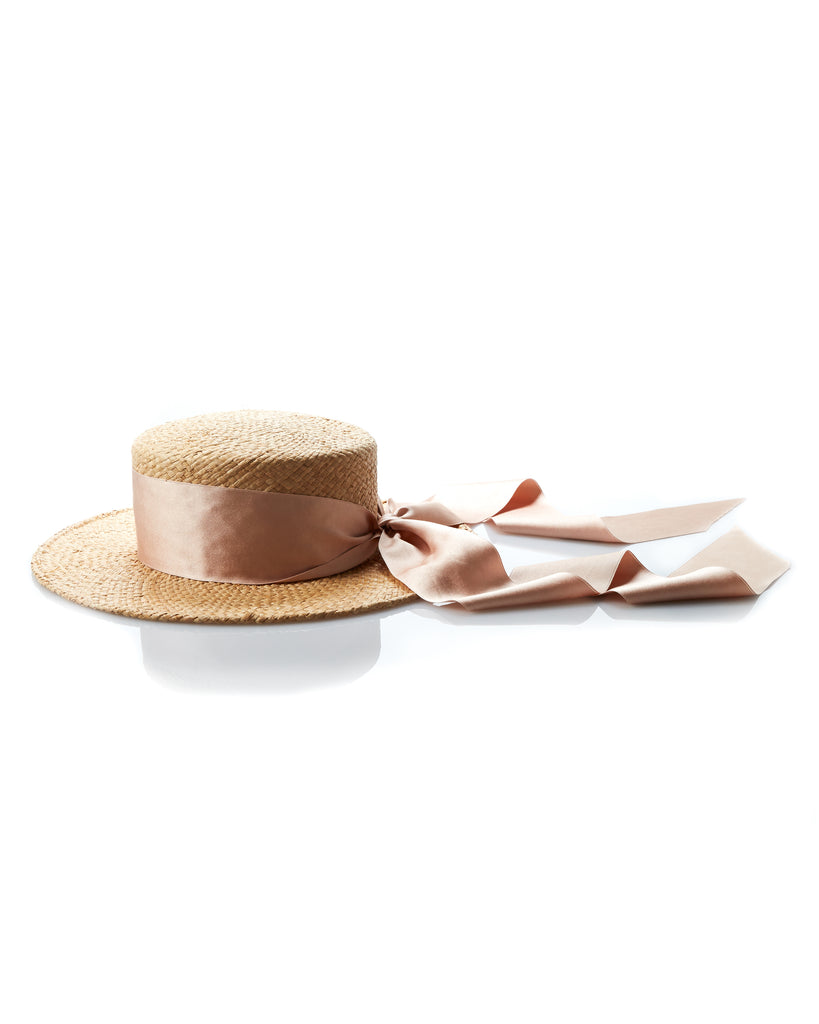 Brother Vellies x Gigi Burris Boater in Blush