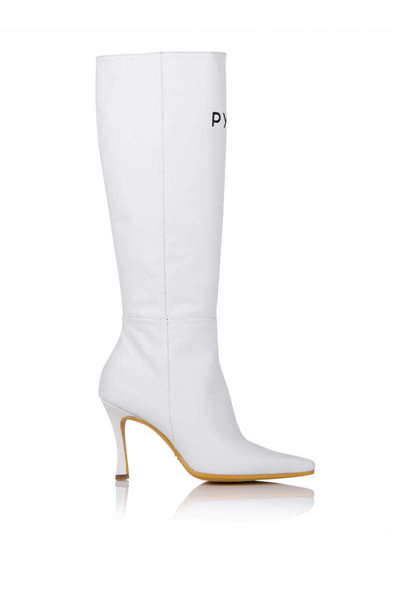 Pyer Moss x Brother Vellies Tall Mamba Boot in White