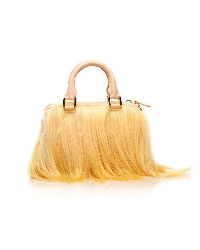 Mini Island Bag in Mango Long Hair Goat