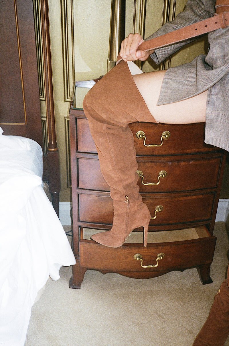 Cognac Scrunchie Boot