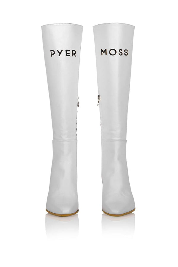 Brother Vellies by Pyer Moss Tall Mamba Boot in White