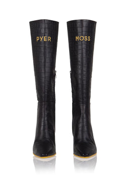 Pyer Moss x Brother Vellies Tall Mamba Boot in Black