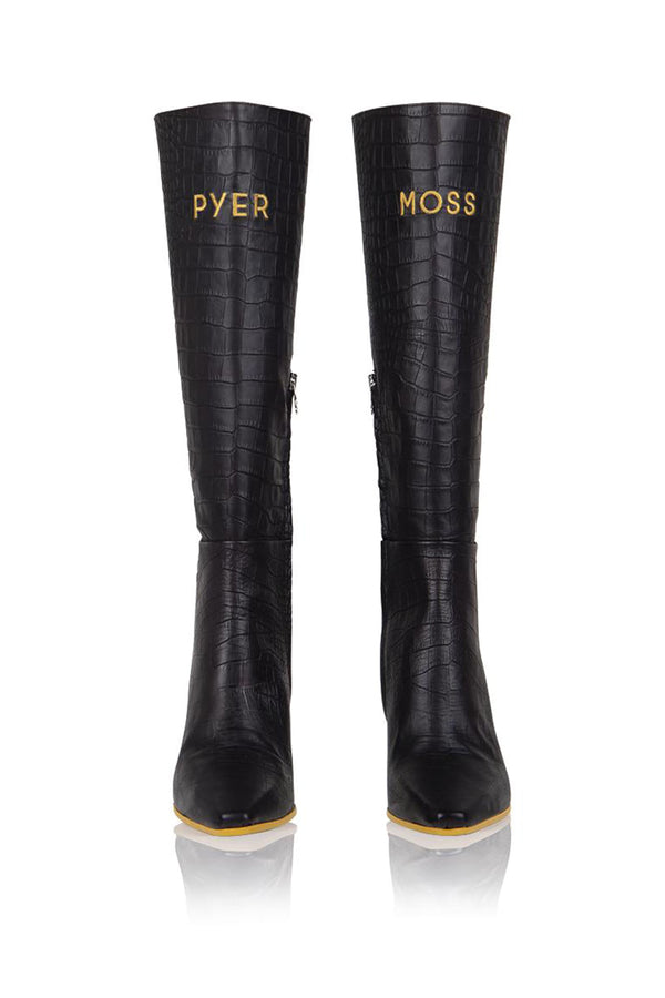 Brother Vellies by Pyer Moss Tall Mamba Boot in Black