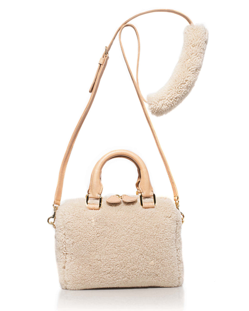 Mini Island Bag in Cream Shearling
