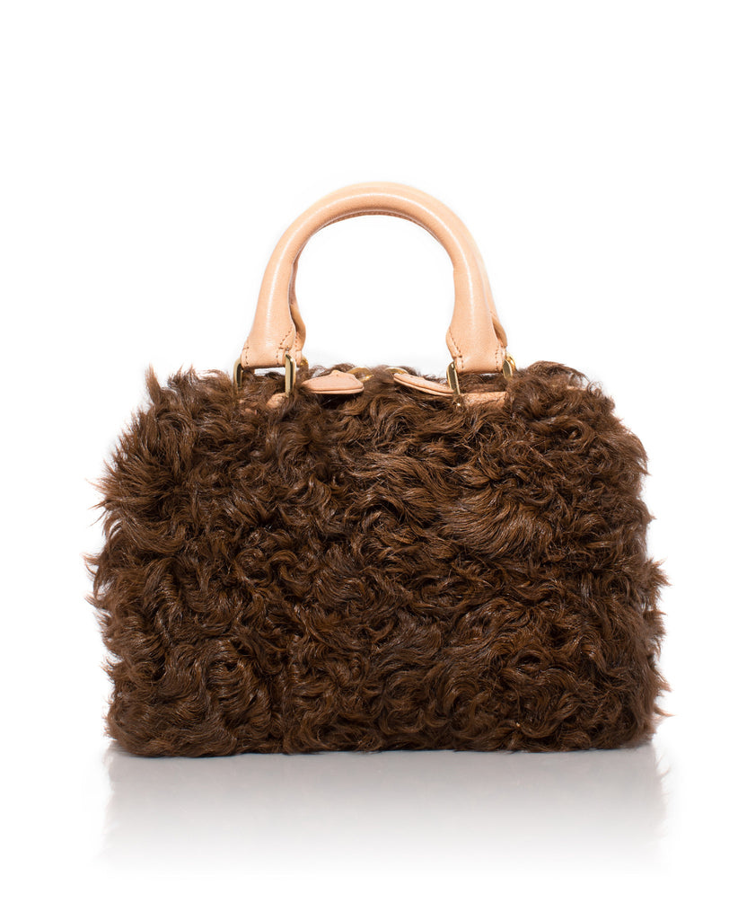 Mini Island Bag in Brown Goat Shearling