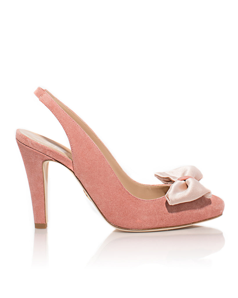 Minnie Mouse Slingback in Dusty Rose Suede