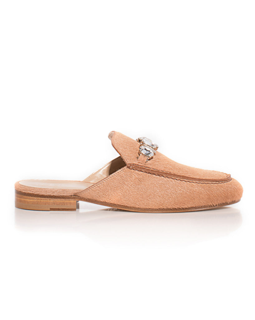 Blush Calf Crystal Loafer Slide