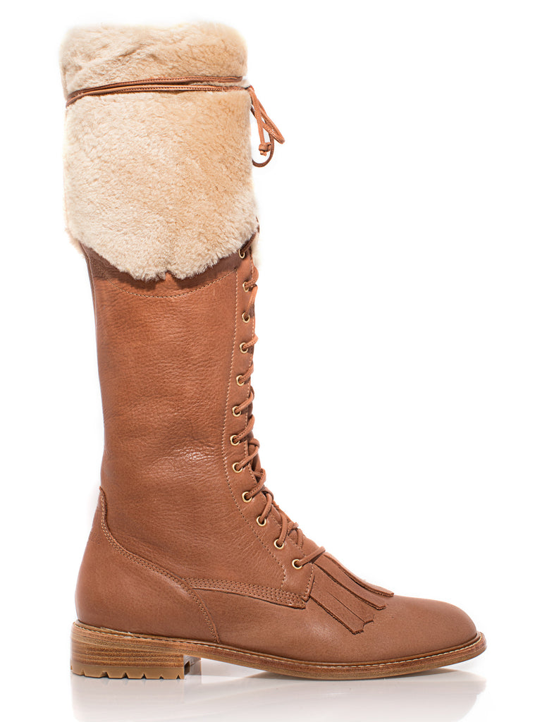 Unity Boot OTK in Cognac Leather with Shearling