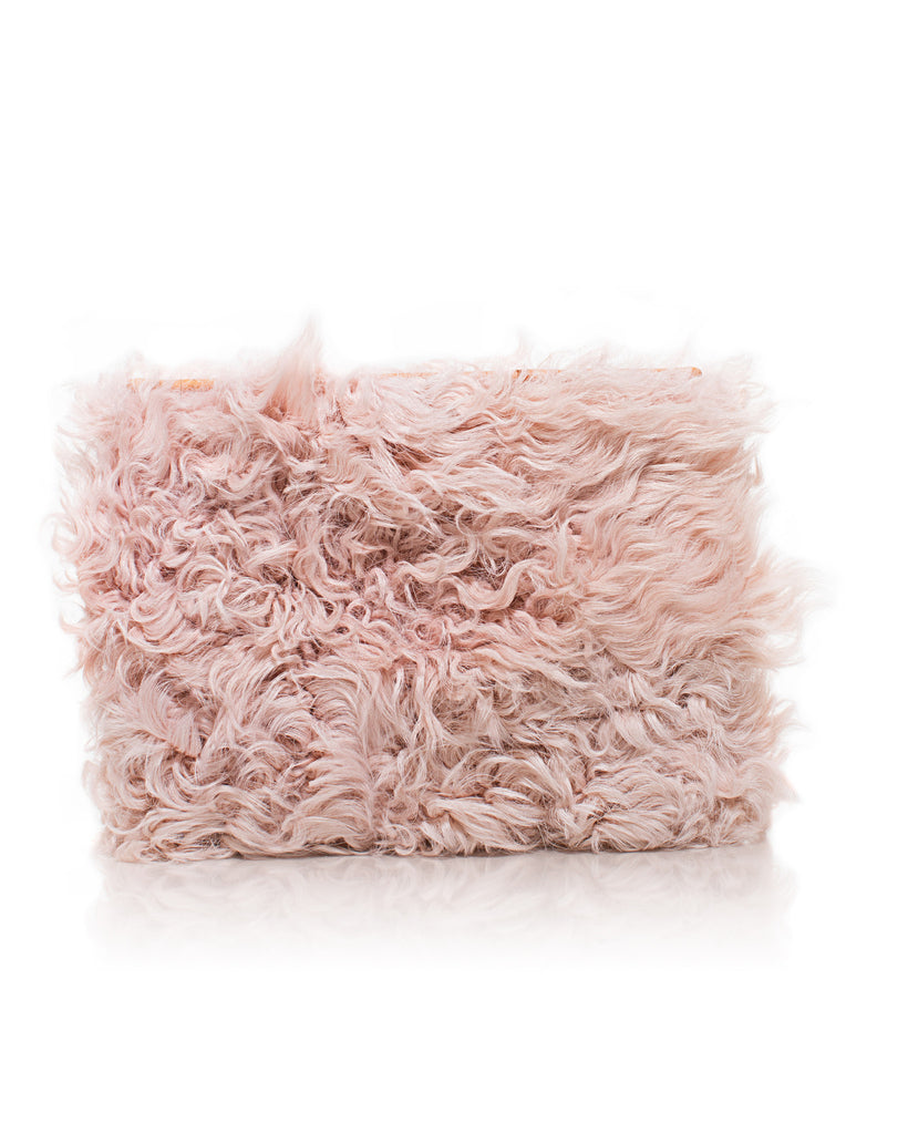 Wallfower Pouch in Blush Curly Goat