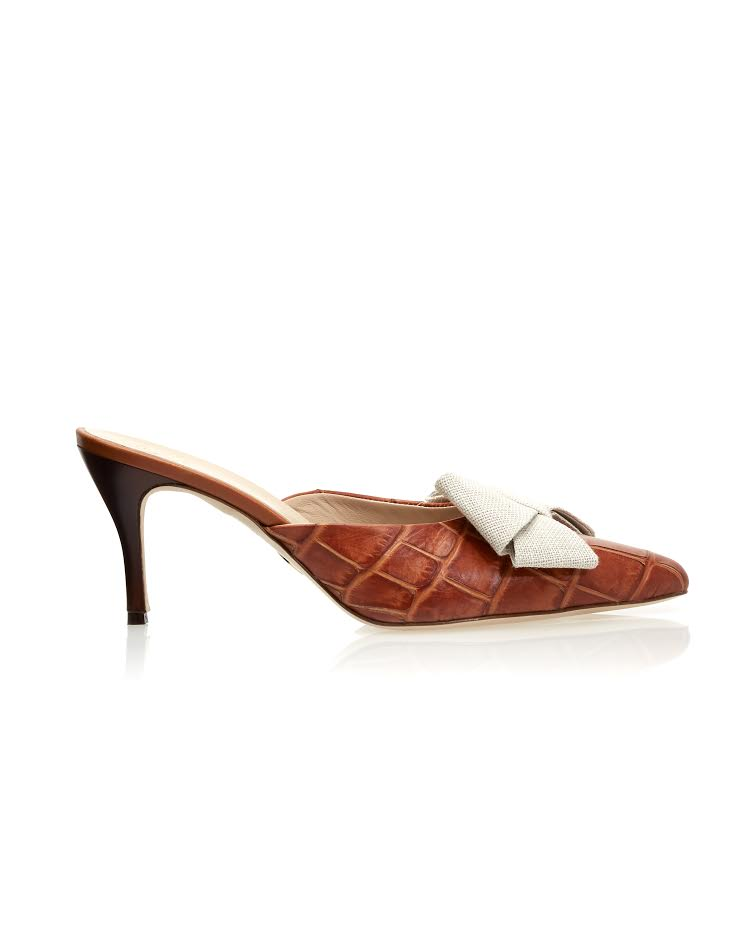 stamped croc stell mule brother vellies
